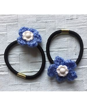 Buttercup From KnittingNani Hair Ties With Flowers - Light Blue