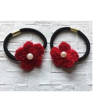 Buttercup From KnittingNani Hair Ties With Pearls - Red
