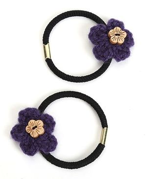 Buttercup From KnittingNani Hair Ties With Wooden Floral Button - Purple