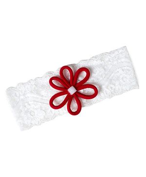 Funkrafts Flower Applique Headband - White & Red