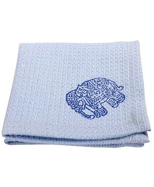 NeedyBee Elephant Block Printed Soft Organic Cotton Handkerchief - Blue