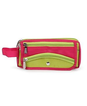 PEP INDIA Trendy  Oval Pouch - Neon Green & Red