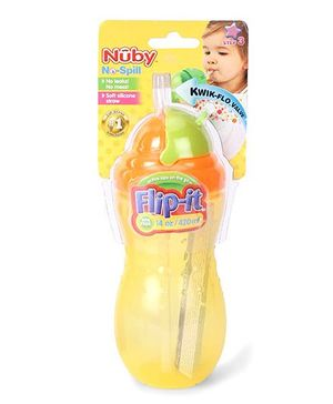 Nuby No Spill Flip It Straw Cup Yellow And Orange - 420 ml