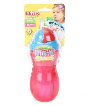 Nuby No Spill Flip It Straw Cup Red And Blue - 420 ml