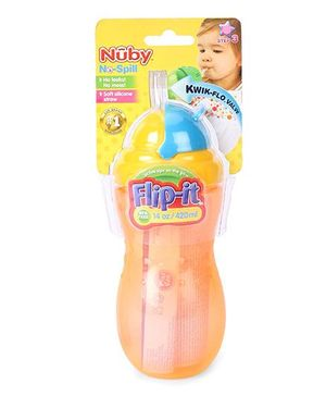 Nuby No Spill Flip It Straw Cup Orange And Yellow - 420 ml