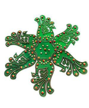Dell's Decorations 7 Pieces Acrylic Rangoli - Green