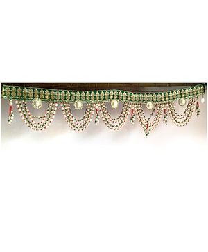 Dell's Decorations Heavy Zari Work & Beads Hanging Bandarwar - Multicolour