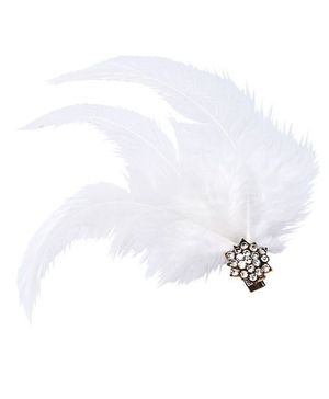 D'Chica Feather And Diamond Studded Clip - White