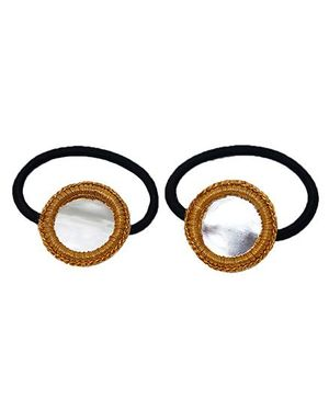 D'Chica Shiny And Chic Mirror Work Rubber Band - Golden