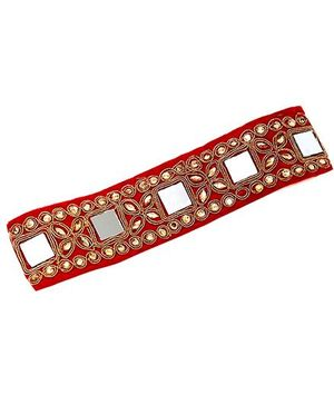 D'Chica Mirror Work Lace Headband - Red