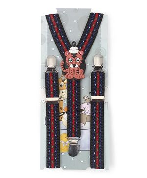 Kid O Nation Suspenders With Dog Patch - Red Blue