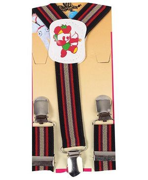Kid O Nation Suspenders With Panda Patch - Red Beige