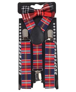 Kid O Nation Printed Suspenders With Bow Tie - Blue Red