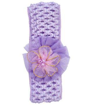 Miss Diva Pearl Net Flower Soft Headband - Purple