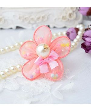 Angel Closet Flower Hair Clip With Pearls - Coral