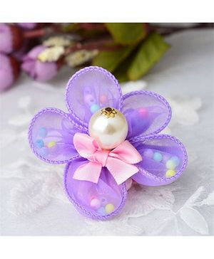 Angel Closet Flower Hair Clip With Pearls - Purple