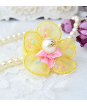 Angel Closet Flower Hair Clip With Pearls - Yellow