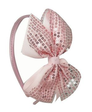 Angel Closet Sequinned Hair Band With Bow - Pink