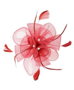 Angel Closet Feather Fascinator Clip - Red