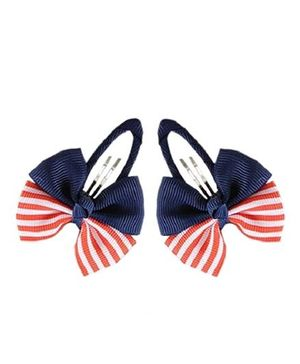 Angel Closet Bow Hair Clips - Red & Blue