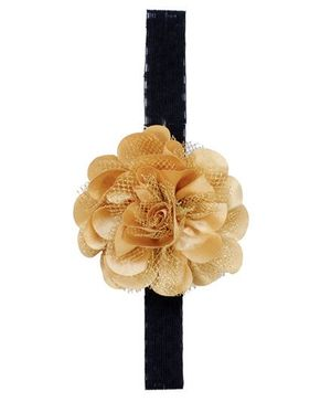 Miss Diva Elegant Flower On Soft Headband - Golden