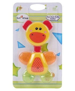 1st Step Flexi Neck Rattle Teether Yellow - 14 cm