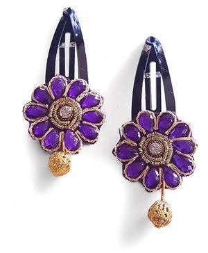Soulfulsaai Kundan Stone Flower Tic Tac - Purple