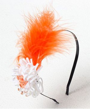 Bunchi Feather With Flower Metal Headband - Neon Orange