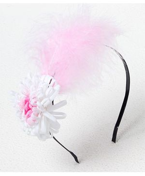 Bunchi Feather With Flower Metal Headband - Pink