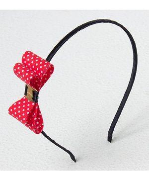 Bunchi Polka Dot Bow Metal Headband - Red