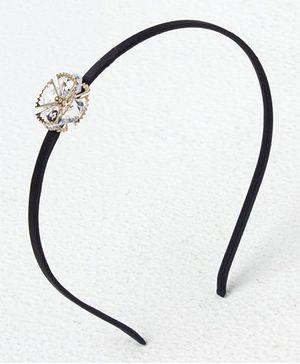 Bunchi Crystal Metal Flower Headband - Gold With Black