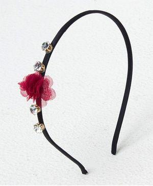 Bunchi Crystal With Flower Headband - Maroon