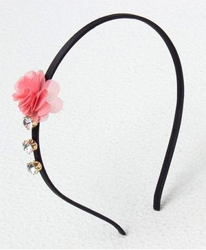 Bunchi Crystal With Flower Headband - Peach