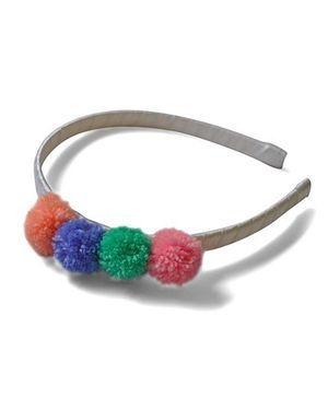 Pink Velvetz Pom Pom Hair Band - Multicolour