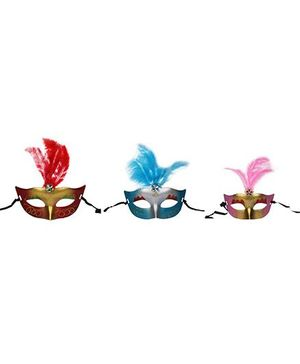 Funcart Eye Mask With Feathers Pack Of 3 - Multicolor