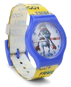 Fantasy World Wrist Watch Froggy Print - Blue Yellow
