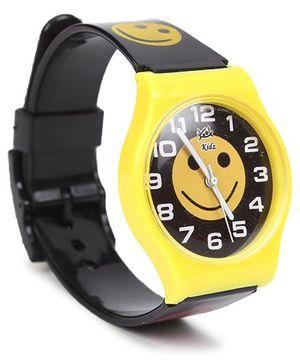 Fantasy World Wrist Watch Smiley Print - Yellow Black