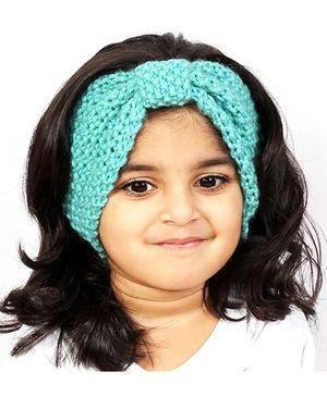 Magic Needles Girls Handknitted Bow Ear Warmer Headband - Sea Green