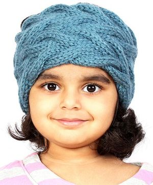 Magic Needles Girls Handknitted Double Cable Ear Warmer Headband - Storm Blue