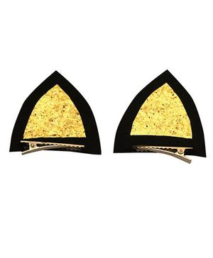 D'chica Kitty Ears Halloween Special Alligator Clips - Black & Golden