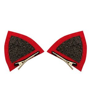 D'chica Kitty Ears Halloween Special Alligator Clips - Black & Red