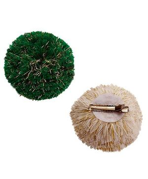 D'chica Pom Pom Bunny Ears Clips Set Of 2  - Green & Cream