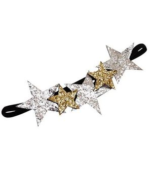 D'chica The Princess Of Night Headband With Stars - Silver & Golden