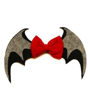 D'chica Chic Bat Girl Bow Clip - Black & Grey