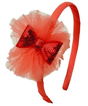 Miss Diva Glittering Bow Hair Band - Red