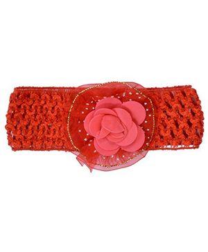 Miss Diva Flower On Soft Headband - Red