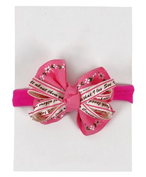 Miss Diva Bow & Ribbon Rubber Band - Bright Pink & White