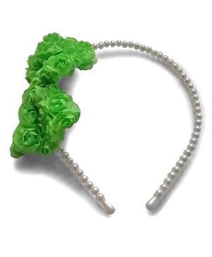 Aakriti Creations Bow With Roses Hair Band - Green