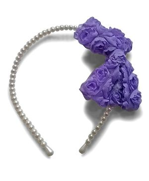 Aakriti Creations Bow With Roses Hair Band - Purple