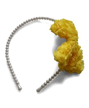 Aakriti Creations Bow With Roses Hair Band - Yellow